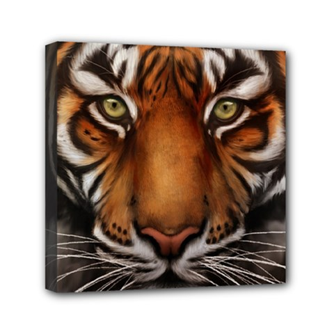 The Tiger Face Mini Canvas 6  X 6