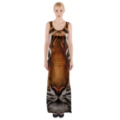 The Tiger Face Maxi Thigh Split Dress by Celenk