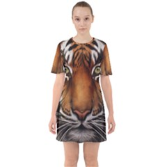 The Tiger Face Sixties Short Sleeve Mini Dress by Celenk