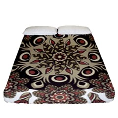 Mandala Pattern Round Brown Floral Fitted Sheet (queen Size) by Celenk
