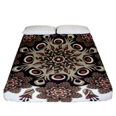 Mandala Pattern Round Brown Floral Fitted Sheet (california King Size) by Celenk