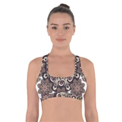 Mandala Pattern Round Brown Floral Cross Back Sports Bra by Celenk