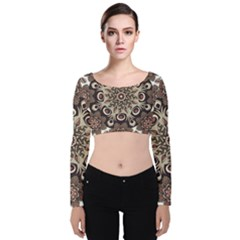Mandala Pattern Round Brown Floral Velvet Long Sleeve Crop Top by Celenk