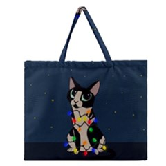 Meowy Christmas Zipper Large Tote Bag by Valentinaart
