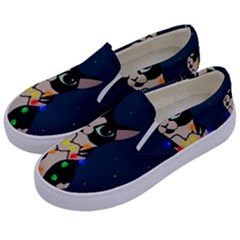 Meowy Christmas Kids  Canvas Slip Ons by Valentinaart