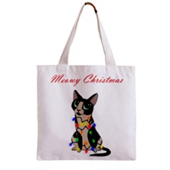 Meowy Christmas Zipper Grocery Tote Bag by Valentinaart