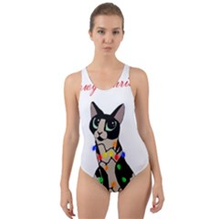 Meowy Christmas Cut-out Back One Piece Swimsuit