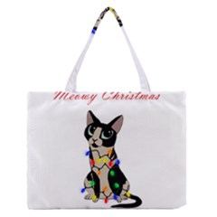 Meowy Christmas Zipper Medium Tote Bag