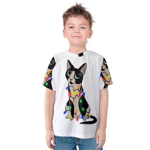 Meowy Christmas Kids  Cotton Tee by Valentinaart