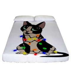 Meowy Christmas Fitted Sheet (king Size)