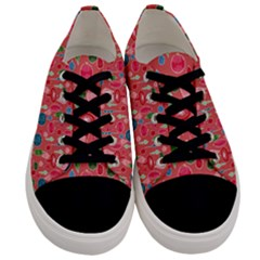 Vintage Christmas Hand-painted Ornaments In Multi Colors On Rose Men s Low Top Canvas Sneakers
