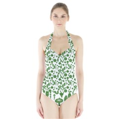 Vintage Christmas Ornaments In Green On White Halter Swimsuit by PodArtist
