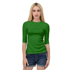 Mini Red Dots On Christmas Green Quarter Sleeve Raglan Tee