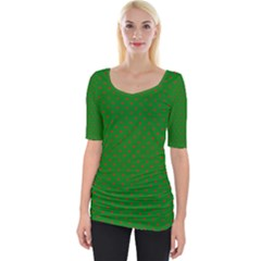 Mini Red Dots On Christmas Green Wide Neckline Tee by PodArtist