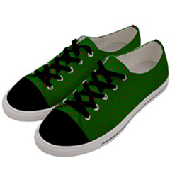 Mini Red Dots On Christmas Green Men s Low Top Canvas Sneakers by PodArtist