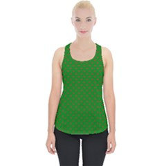 Mini Red Dots On Christmas Green Piece Up Tank Top