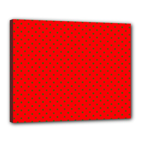 Small Christmas Green Polka Dots On Red Canvas 20  X 16  by PodArtist