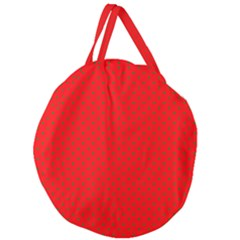Small Christmas Green Polka Dots On Red Giant Round Zipper Tote by PodArtist