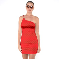 Small Christmas Green Polka Dots On Red One Soulder Bodycon Dress