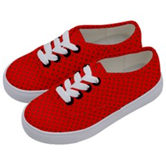 Small Christmas Green Polka Dots On Red Kids  Classic Low Top Sneakers by PodArtist