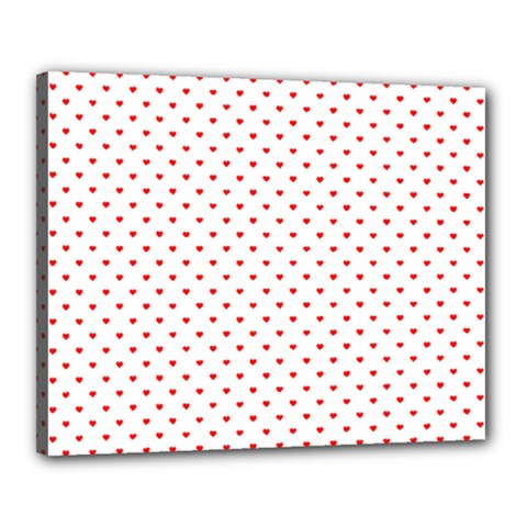 Small Christmas Red Polka Dot Hearts On Snow White Canvas 20  X 16  by PodArtist