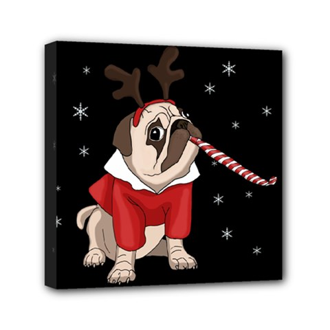 Pug Xmas Mini Canvas 6  X 6  by Valentinaart
