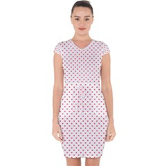 Small Christmas Red Polka Dot Hearts On Snow White Capsleeve Drawstring Dress