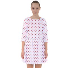 Small Christmas Red Polka Dot Hearts On Snow White Smock Dress by PodArtist