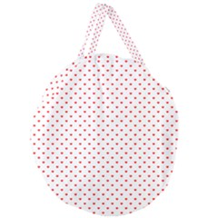 Small Christmas Red Polka Dot Hearts On Snow White Giant Round Zipper Tote by PodArtist