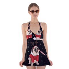 Pug Xmas Halter Dress Swimsuit