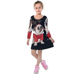 Pug Xmas Kids  Long Sleeve Velvet Dress by Valentinaart