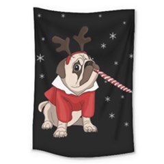 Pug Xmas Large Tapestry by Valentinaart