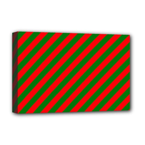 Red And Green Christmas Candycane Stripes Deluxe Canvas 18  X 12   by PodArtist