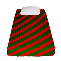 Red And Green Christmas Candycane Stripes Fitted Sheet (single Size) by PodArtist
