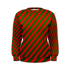Red And Green Christmas Candycane Stripes Women s Sweatshirt by PodArtist