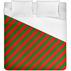 Red And Green Christmas Candycane Stripes Duvet Cover (king Size) by PodArtist