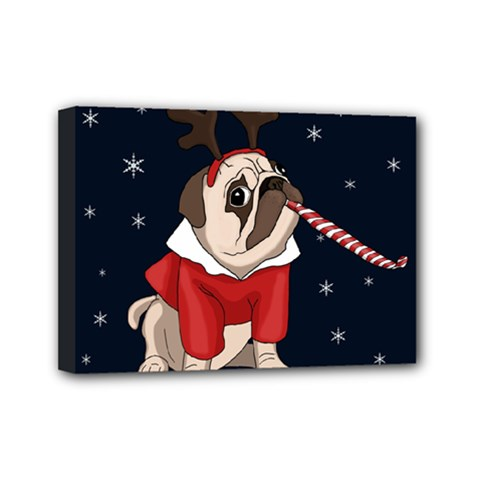 Pug Xmas Mini Canvas 7  X 5  by Valentinaart