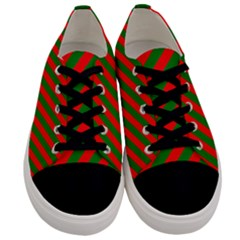 Red And Green Christmas Candycane Stripes Men s Low Top Canvas Sneakers