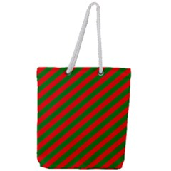 Red And Green Christmas Candycane Stripes Full Print Rope Handle Tote (large)