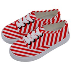 Christmas Red And White Candy Cane Stripes Kids  Classic Low Top Sneakers by PodArtist