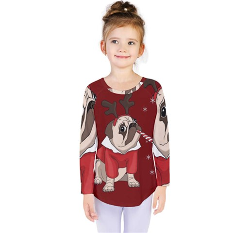 Pug Xmas Kids  Long Sleeve Tee by Valentinaart