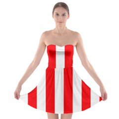 Wide Red And White Christmas Cabana Stripes Strapless Bra Top Dress