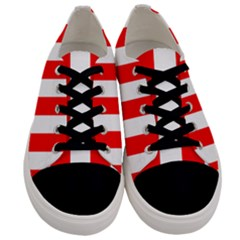 Wide Red And White Christmas Cabana Stripes Men s Low Top Canvas Sneakers