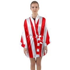 Wide Red And White Christmas Cabana Stripes Long Sleeve Kimono Robe