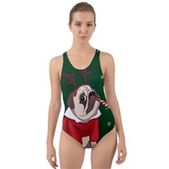 Pug Xmas Cut Out Back One Piece Swimsuit