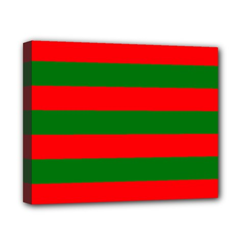 Red And Green Christmas Cabana Stripes Canvas 10  X 8  by PodArtist