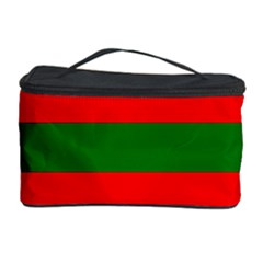 Red And Green Christmas Cabana Stripes Cosmetic Storage Case by PodArtist