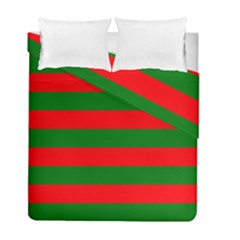 Red And Green Christmas Cabana Stripes Duvet Cover Double Side (full/ Double Size) by PodArtist