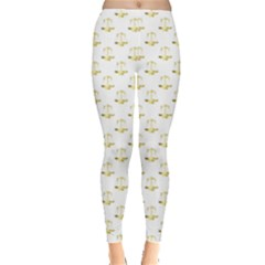 Gold Scales Of Justice On White Repeat Pattern All Over Print Leggings  by PodArtist