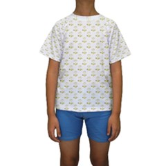 Gold Scales Of Justice On White Repeat Pattern All Over Print Kids  Short Sleeve Swimwear by PodArtist